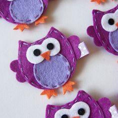 Purple Felt Owl Hair Clip - Cute Everyday Purple Owl Felt Clippies - Birthday party favors
