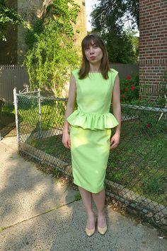 Wiggle peplum dress made with Nanette Lepore neon-green houndstooth #moodfabrics