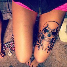 Women's Leg Tattoos - Click Here to view thousands of tattoo designs - Free tattoo e-book just for looking http://www.targettattoo.com/clickbank.htm?hop=stockie311 Skulls, Tattoo Ideas, Tattoo Placements, Thigh Tattoos, Skull Tattoos, Rose Tattoos, Leg Tattoos, Tattoo Patterns, Tattoo Ink