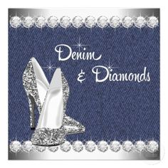 Denim and Diamonds Birthday Party Invitations
