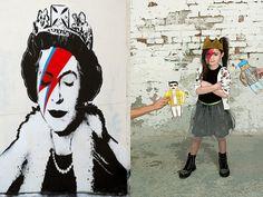 God save the queen. Pranksy has her own rockin' style. #pranksy #banksy #streetart #graffiti #kids #fashion #nununu #laminiatura #oeuf #freddie #biggie #lategreats
