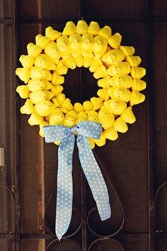 Yellow Peeps Easter wreath