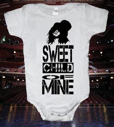 My unborn child already owns this...thanks hubby.   Guns N' Roses Slash Sweet Child Of Mine Onsie by HappyGoatShirts, $9.99