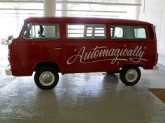 bus, vans, photo share, painted signs, script, sign paint, design, automag van, typographi