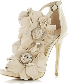 white flowers, fashion, wedding shoes, weddings, woman shoes, flower power, sandals, heels, short dresses