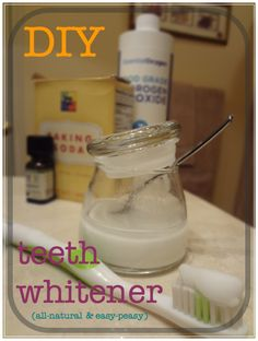 ■Baking soda (whitens teeth and freshens breath)  ■3% food grade hydrogen peroxide (whitens teeth and fights bacteria)  ■Peppermint essential oil (fights bacteria and provides flavor; I use AURA CACIA Essential Peppermint Oil) sodas, diy allnatur, teeth whiten, idea, diy teeth, essential oils, peppermint, beauti, baking