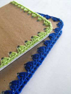 Ruby Murrays Musings: Tutorial - Crochet Edged Notebooks. This would make a nice gift or stocking stuffer for the person in your life who loves to write or sketch.