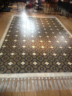 Royal Design Studio stenciled floor with Chez Ali Moroccan Stencil. Floor rug painted on hardwood. Caroline Lizarraga Decorative Painting for Brooks Charles Griffin Design. Michael Chiarello's restaurant Coqueta San Francisco