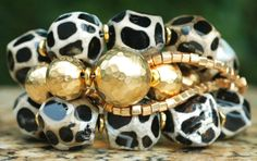 Exotic Giraffe Print Agate Nugget and Gold Bead Bracelet