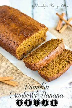 Pumpkin Cranberry Banana Bread on via @Mandy {Mandy's Recipe Box}  // #banana #pumpkin #bananabread