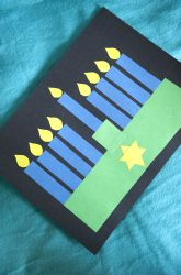 Preschool Hanukkah Activities: Hanukkah Menorah Shape Collage