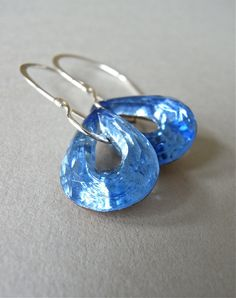 Dazzling 1940's jewel-like teardrops in a sapphire blue are finished with my signature hand forged ear wires in sterling silver.