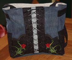 Biker Recycled Denim Rose Purse  ( machine embroidery pattern). $9.99, via Etsy.