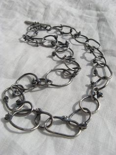 sterling silver hand-fabricated rivet link chain necklace by Lisa Colby.