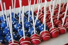 4th of July cake pops. thought of you, too, @Geri Sutter