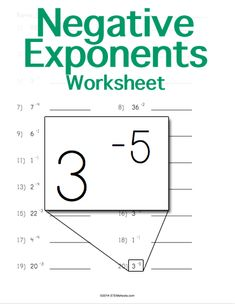Customizable and Printable Negative Exponents Worksheet More