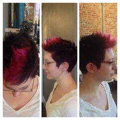 Short hair with fun color #pink #deep purple #short hair