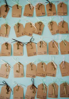 key escort cards displayed on an old door