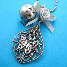 pendant necklac, butterfli floral, anim pendant