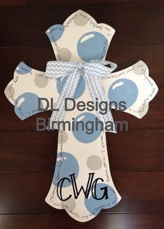 Hospital door or nursery cross for baby boy in gray and blue