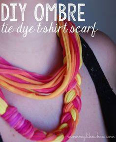 DIY Ombre Tie Dye TShirt Scarf - mommylikewhoa.com