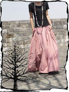 Pink Long skirt  fashon skirts women Skirts Linen Skirt. $56.50, via Etsy.