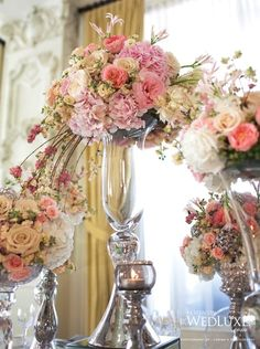 Luxurious PInk Wedding Centerpieces | Calligraphy by Jennifer