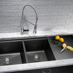 How to clean a composite granite sink: Use pledge to restore shine and remove hard water stains