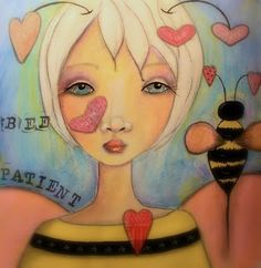 Artistic Accents by Darla face, art journal, bees, artist accent, bee patient, mix media, whimsi, artjunk journal, bee bee