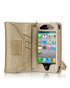 Michael Kors iPhone wristlet. Metallic gold