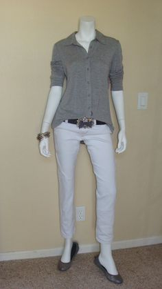 Daily Look:  CAbi Fall 12 Knit Shirt with vintage CAbi white Bree Jean and Signature Belt.  Sweet grey flats finish this transitional look. neutral outfit