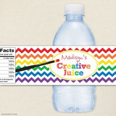 Art party personalized water bottle labels from Chickabug