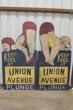 Old signs from the Union Avenue Plunge Bakersfield, CA