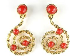 Avon Carnelian Red Colored Cabochon Rope Texture Huge Dangle Pendant Earrings