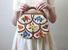 Embroidered vintage purse with wooden handle