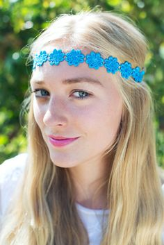 Hippie Bright Blue Daisy Headband Daisy Trim Elastic by beauxoxo, £4.50
