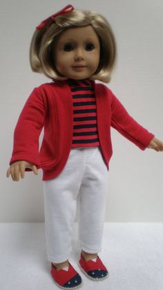 inch doll, doll cloth, cardigan red, ag jacketscoatsvest, white pants, white outfits, 18 inch, shoe, american girls