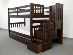 Bunk beds with trundle and stair drawers.