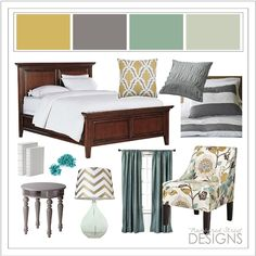 Love this color scheme... Master bedroom is already the green/ blue color and the master bath is already yellow!