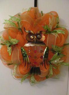 Summer Owl & Butterfly Deco Mesh Wreath  Handmade by Doris2618, $30.00