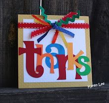 thank you card. Could use Cricut or left over letter stickers - bold colors
