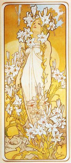 """Alphonse Mucha - """"Lily"""" artists, alphons mucha, lili, color, artnouveau, yellow, flowers, art nouveau, alphonse mucha"""