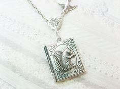Squirrel silver locket necklace.