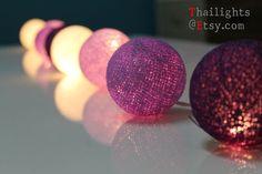 Mix Purple Cotton Ball Wedding Holiday/Party String Lights 20 Lanterns on Etsy, $12.99