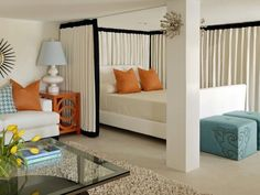 Transitional Bedrooms from Tobi Fairley : Designers' Portfolio 5700 : Home & Garden Television    Love the orange, teal and white