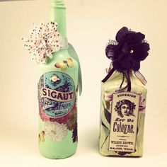 Recycled Altered Decoupage Bottles - Use wine bottles and other glass jars for this creative recycle craft idea.