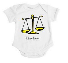 Organic Future Attorney Lawyer Justice Scales Baby Onesie / Bodysuit. $27.00, via Etsy.