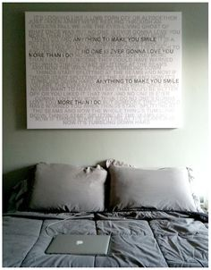 """Love this - """"your song"""" lyrics on a canvas"""