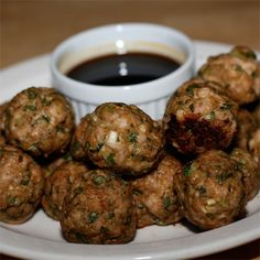 These addictive meatballs taste like Chinese dumplings and the sweet dipping sauce makes them totally over-the-top irresistible.