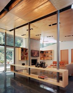 Wood ceiling + polished concrete floors.